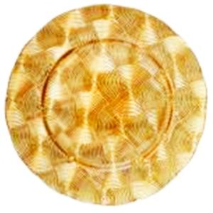 Plato de presentación de cristal con diseño dorado de 33cm
