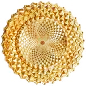 Plato de presentación de cristal con diseño rombos dorados de 33 cm