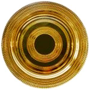 Plato de presentación de cristal con diseño perlas dorado de 33cm