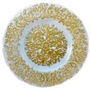 Plato de cristal blanco con gariboleado dorado de 33 cm