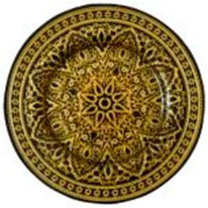 Plato de cristal negro con gariboleado dorado de 33 cm