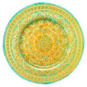 Plato de cristal azul con gariboleado dorado de 33 cm