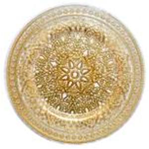 Plato de cristal transparente con gariboleado dorado de 33 cm