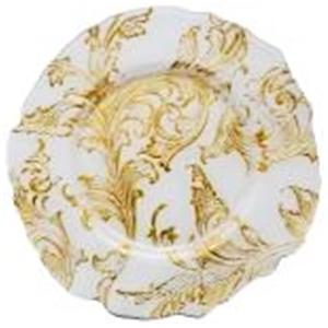 Plato de cristal blanco con guías de flores doradas de 33 cm