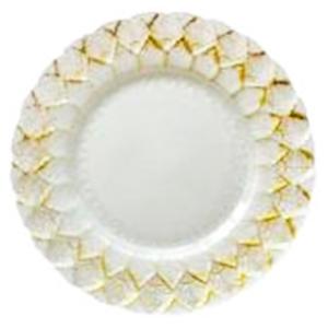 Plato de cristal blanco con grabado en dorado de 33 cm