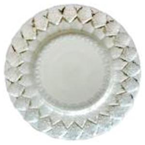 Plato de cristal blanco con grabado en plata de 33 cm