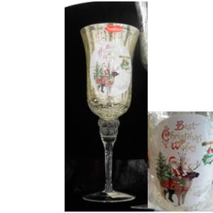 Candelabro de cristal diseño copa craquelada con estampado de Santa y Reno de 11x40cm