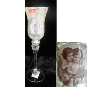 Candelabro de cristal diseño copa craquelada con estampado de Ángeles de 10x30cm