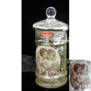 Dulcero con tapa de cristal craquelado estampado de Ángeles de 10x23cm