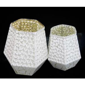 Candelabro hexagonal diseño panal de cristal de 12x11cm