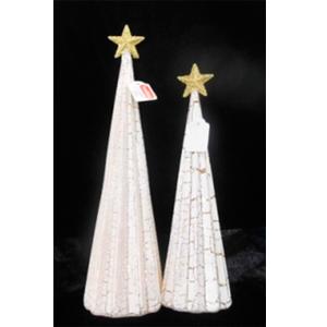 Árbol de navidad de cristal blanco craquelado con luz de 7x27.5cm