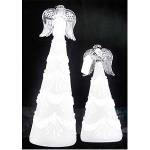 Angel de cristal blanco con luz de 8x19cm