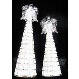 Angel de cristal con traje a cuadros de 9x29cm
