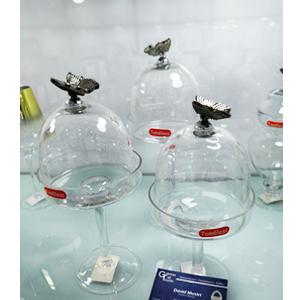 Base para pastelillos con tapa de cristal diseño mariposa de 11x29cm