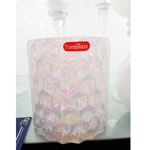 Florero de cristal blanco tornasol de 10x14cm