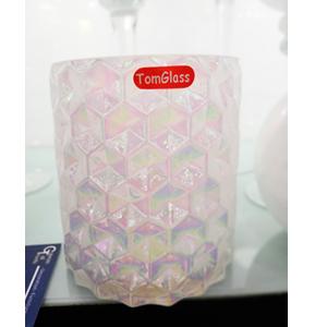 Florero cilíndrico de cristal blanco tornasol de 12x13cm