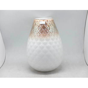 Florero de cristal blanco con degradado a dorado diseño rombos de 22.5x22.5x30.5cm