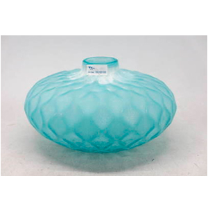 Florero de cristal azul diseño rombos de 22x22x14cm