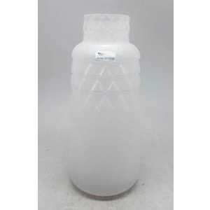 Florero de cristal diseño botella biselado blanco de 14x14x31.5cm