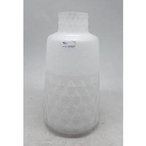 Florero de cristal diseño botella biselado blanco de 15x15x26cm
