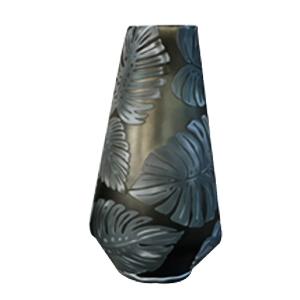 Florero de cristal biselado con estampado de hojas
