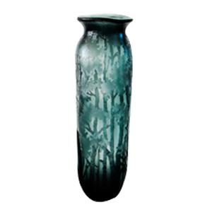 Florero de cristal biselado con diseños de arboles
