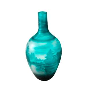Florero de cristal biselado diseño botella verde con paisaje