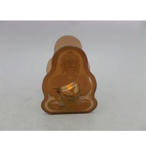 Candelabro de cristal café diseño Buda meditando de 12x6x16cm