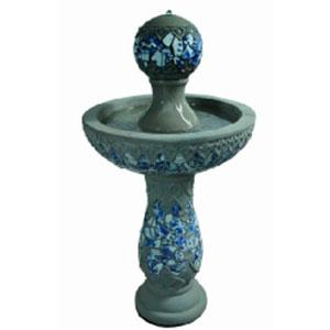 Fuente para jardín diseño pedestal con mosaicos azules de 49x49x91.5cm