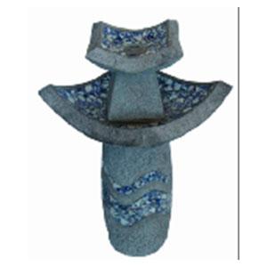 Fuente para jardín diseño Torre con mosaicos azules de 43.5x43.5x78.5cm