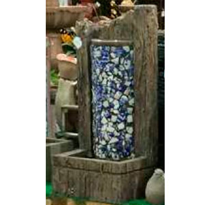 Fuente de mesa diseño madera con mosaicos azules de38x25x78cm