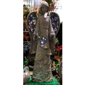 Figura de Ángel diseño piedra con mosaicos azules de 31x22x70cm