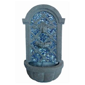 Fuente diseño piedra con mosaicos azules de 23x21x78.5cm