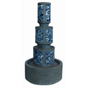 Fuente imitación piedra diseño torre de mosaicos azules de 88x44x44cm