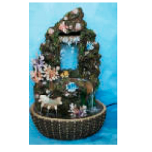 Fuente diseño piedra con musgo peces y corales de 57x45x84cm