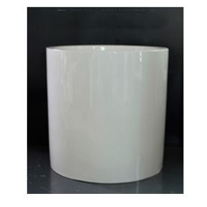 Florero de resina cilíndrico blanco de 47x47x43cm