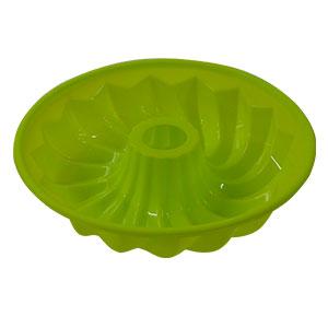 Molde redondo de silicón verde resistente al horno y al congelador para rosca de 25x6cm
