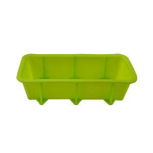 Molde de silicón verde resistente al horno y al congelador para panque de 25.5x12.5x6.5cm