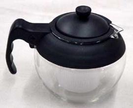 Infusora de the de vidrio y plástico negro de 500 ml