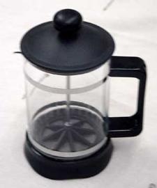 Prensa para café de vidrio y plástico negro de 850 ml
