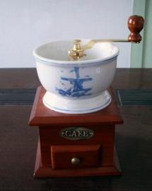 Molino de café azul c/blanco  de 12x12x18cm