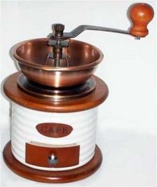 Molino de café de ceramica blanco con cobre