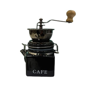 Molino de café de porcelana negra de 10x10x16.5cm