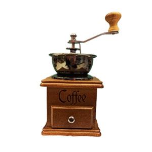 Molino de café con depósito de madera cuadrado de