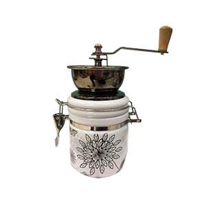 Molino de café con recipiente de porcelana blanca con estampado flores