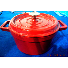 Cacerola de hierro rojo con tapa de 24cm