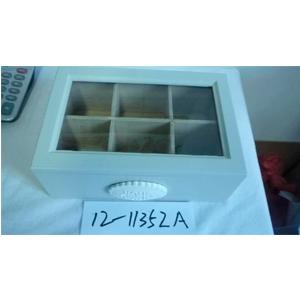 Caja para Té de madera con 6 divisiones y tapa con cristal 23.5X16X9cm