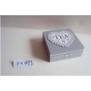Caja p/Té de madera c/ 4 espacios  gris 18x18x7cm
