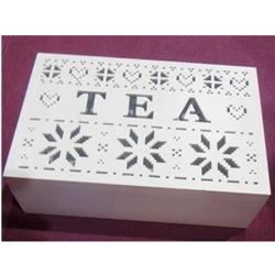 Caja p/ Té de madera c/6 espacios gris 24x16x7cm