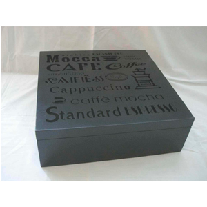 Caja de madera p/ Té c/9 espacios negra con diseños textos de café 24x24x8cm